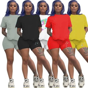 womens outfits two piece set T-shirt + shorts designer tracksuit women clothes sportswear sportsuit new hot summer womens clothing klw4419