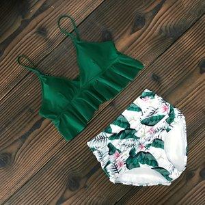 Waist Swimwear Women Swimsuit High Neck Push Up Bikini Set Print Bandage Biquni Bathing Suit Beach Wear Swimming MX200613
