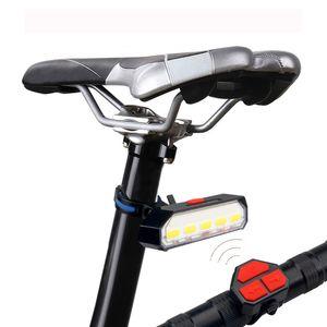 Uzaktan Kumanda Kablosuz Bisiklet Taillight USB Şarj edilebilir Bisiklet Arka Lamba Emniyet WarningTurn Sinyal Işık