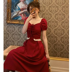French girlish romantic summer dressLace dressdress long and short court style square collar bubble sleeve lace splicing dress