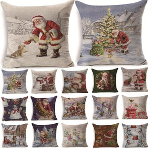 2Pcs 43*43cm Christmas Santa Claus Pattern Cotton Linen Throw Pillow Cushion Cover Car Home Sofa Decorative Pillowcase 40468