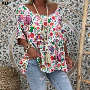 KLV Women 2019 Summer Holiday Plus Size Vintage Floral Print Bohemian Blouse Short Sleeves Loose Shirt Spandex Tops Y200622