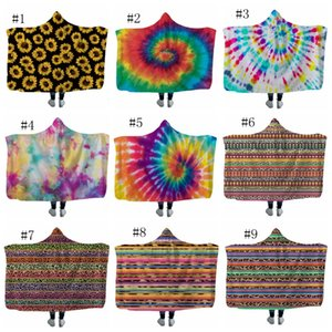 Sunflower Hooded Blanket Kids Fleece Blankets Throw Blanket Winter Sofa Bedding Supplies Christmas Gift Leopard Tie Dye 18 Designs DW4278