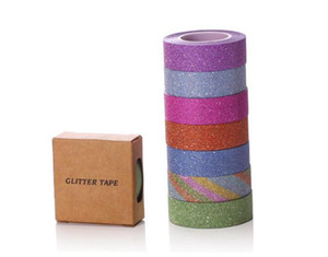 1.5CM  10M Glitter Washi Sticky Paper Masking Adhesive Tape Label DIY Craft Decorative Free Shipping 2016 230pcs