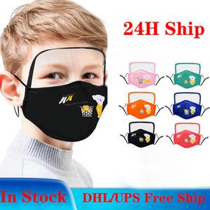 DHL gratuit Shiping! Bouclier type enfants concepteur masque masques visage de la mode enfants imprimer antipoussière bouche coton masque nasal 3-9 ans