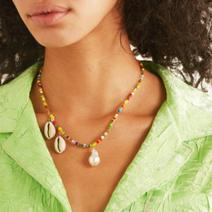 bohemian gothic collier Paxi multicolored beads Freshwater pearls necklace women natural puka cowrie shells necklace jewelry