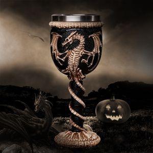 바 파티 홈 와인 잔 컵 할로윈 선물 Y200106에 대한 3D 고딕 양식의 해골 컵 스테인레스 스틸 수지 플라이 드래곤 해골 디자인