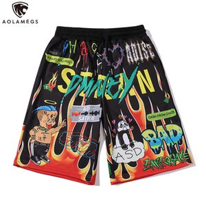 Aolamegs Shorts Men Cartoon Flame Graffiti Print Beach Knee-length Shorts Hip Hop Bermuda Style Elastic Waist High Street Summer CX200714