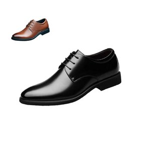 2020 Fashion Classic Men Shoes Office Black Pointed Toe Leather Men Dress Shoes In Flats Men Business Shoes