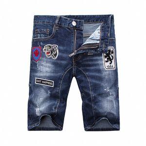 2020 summer new men's denim embroidery shorts fashion men's denim jeans skinny trend pants master design