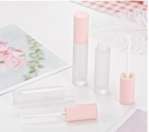 Libera glassata Cap Rosa Lipgloss tubi trasparenti tubo Lip Gloss con i Pink coperchio semplice rotonde cosmetici Lip Gloss bottiglia riutilizzabile