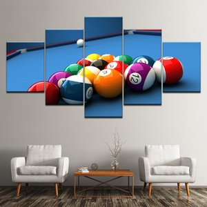 Mordern Canvas Painting Frame Art Poster Wall Oil Picture Home Decor 5 Panel Modular Color Billiards Landscape Print On Canvas