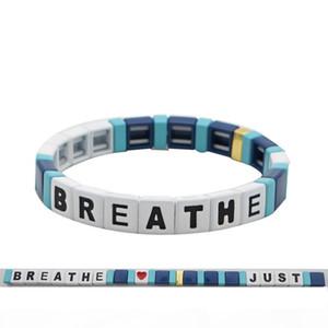 U Diy String Simple Breathe Bracelet Handmade Alphabet Breathe Acrylic Bead Bangle Bracelet Gifts I Can &#039 ;T Breathe