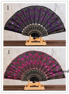 New Chinese Folding Peacock Hand Fan Bead Fabric Decor Colored Embroidered Flower Pattern Black Cloth Folding Hand Fan