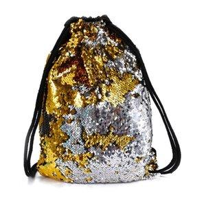 Mermaid Outdoor Bag Gift Fashion Backpack Rucksack Sack Shoulder Glittering Shine Xerrk Sports Christmas Drawstring Decor Beach Sequin Tgrn