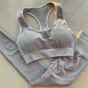 Yoga gris Ensembles Ensemble 2 pièces rayé femmes sans couture Workout Set Vêtements Fitness pour Femmes Sport Sport cultures TopSports Legging