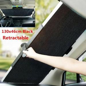 2019 Yeni Yükseltme Universal Araç Geri Çekilebilir Ön Cam Sunshad Arka Cam Güneşlik UV Koruma Perde 130x46cm