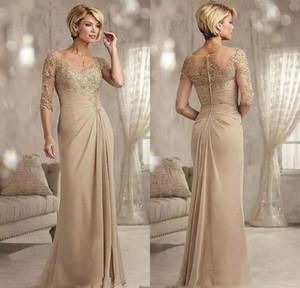 Champagne Metade mangas Lace Mermaid mãe dos vestidos Birde com apliques Sweep Trem Chiffon vestidos de noite formal