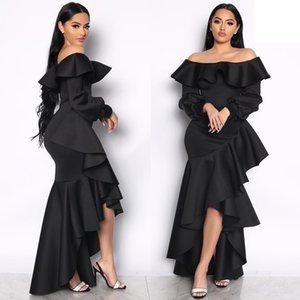 Christmas new design ruffled big wave fishtail dress sexy strapless fashion irregular long sleeve banquet dress without belt 9108