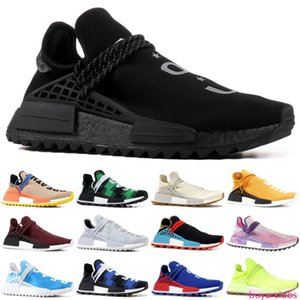 Top pharrell williams human race races tennis men running shoes woman sample yellow Core Black Nerd Black designer sneakers 36-47