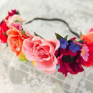 2019 bride accessories creative new Red Girl artificial flower hair band Female Artificial flower headdress Hair band headdress