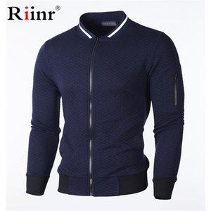 Riinr Brand Men Casual Sweatshirt New Solid Color Polyester Cardigan Coat Warm Sweatshirt Male fashion Slim Jacket Plus CX200723