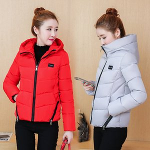 2020 New Female Cotton-padded Jacket Short Slim Hooded Long Sleeve Zip Thick Lightweight Women Winter Coat Parka Girl Clothes
