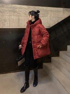 Inverno Mulheres com capuz chifre Botão solto para baixo vermelha Parkas 90% Pato Branco Brasão de Down Grosso Quente bolso Neve Outwear