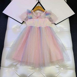 European and American parent-child summer new 2020 children's wear Short sleeve sequins spliced gradient mesh Baby girl dress