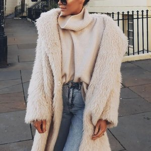 Nuove donne inverno caldo maglione di design di spessore per le donne Trendyol X-lungo di lana maglioni Faux soffice pelliccia dell'orso in pile con cappuccio casuale del cappotto del rivestimento