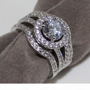 K Wedding Ring For Women Vintage 10kt White Rose Gold Filled With Inlay Cz Simulated Diamond His Girlfriend Gift
