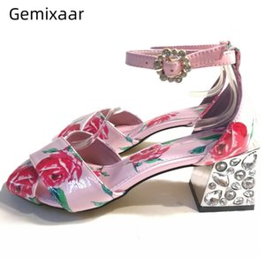 Chic Print Rose Sandals Women Corss Band Chunky Square High Heel Decor Jeweled Party Sandalias Sweet Rhinestone Women Sandals