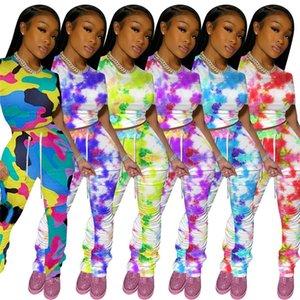 Kadınlar Eşofman Kamuflaj Renk Batik Kazak Tişört Crop Top Dantelli Pantolon Kıyafet Kısa Tişört Pileli Pantolon Moda Suit Yeni D8408