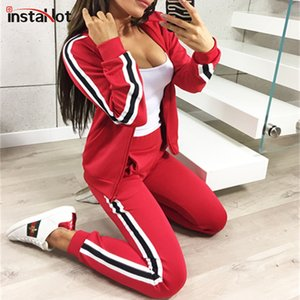 InstaHot 3 Color Side Striped 2 Piece Set Women Autumn Hoodies Long Pant and Long Sleeve Zip Up Top Casual Pocket Winter Fashion