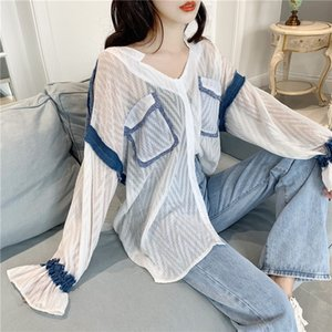dFkZX 2019 early autumn new long T- underpants underpants-sleeved T-shirt female ins fashionable medium and long loose slim V-neck base shir
