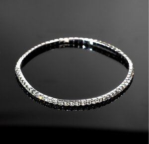 Hot dancer showgirl anklets stretch foot bracelets 1 row rhinestone silver plated free shipping