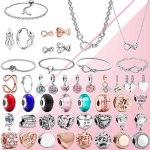 Jóias do Fahmi 2020 da mamã do amor Dia das Mães Infinito Coração Pingente Rose Clipe de vidro charme colar anel pulseira Brinco Mulheres