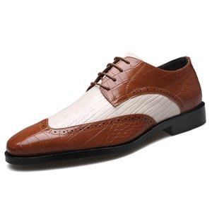 Zeguuer Marca 2020 Homens Moda Couro Sapatos Plus Size Formal Toe Patchwork Rodada Traje Masculino Sapatos Primavera Derby