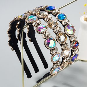 Puerta Este accesorios para el cabello de alta gama barroco estilo super-flash de diamante fino borde de color con incrustaciones de banda para el cabello diadema de novia
