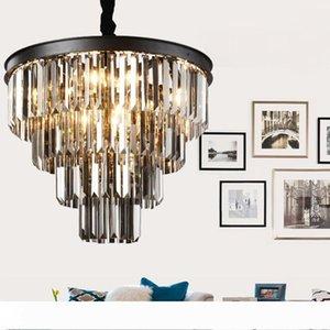 lustres en cristal d'art en fer noir américain Lustre luminaires lumière lustre lampe de chambre, fumée lampe en cristal gris