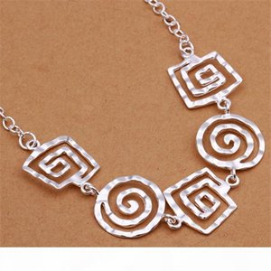 L Burst Models Women &#039 ;S Sterling Silver Necklace Gtp52 ,Fashion Trinkets Spiral Pearl 925 Silver Necklace 6 Pieces A Lot Mixed St
