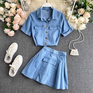 Vestido de dos piezas [EWQ] 2021 Verano Estilo coreano Cuello de giro de manga corta Camisa de mezclilla Abrigos All-Match Mini Falda 2 Set Mujeres QV451