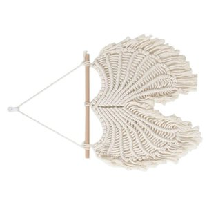 1pc Monolayer Hanging Dreamcatcher Cotton Craft Tapestry Household Decorative Hanging Ornament Decor Knitted Rope Pendant (Beige