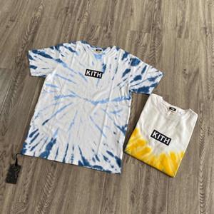 20SS 일가 여름 넥타이 염료 박스 티 크루 넥 T 셔츠 하이 스트리트 스케이트 보드 짧은 소매 남성 여성 여행 티 통기성