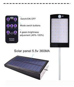Lampes murales extérieures 48led PIR Capteur de mouvement 3 modes Éclairage de jardin solaire avec télécommande Lampe de sécurité IP65