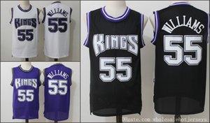 55Jason Williams SacramentoKingMänner Jersey Weiße SchokoladeNBA Retro Basketball-Trikots