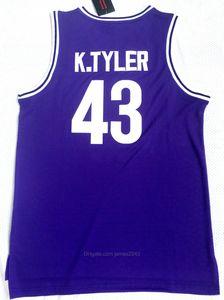 Bizden gemi #The 6.Th Man Movie 43 Kenny Tyler Basketbol Jersey Erkekler Huskies Koleji Marlon Wayans Formalar Üniversitesi Mor Boyutu S-3XL