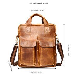 Crazy horse leather retro leather men's bag business fashion men's bag to carry a briefcase multifunctional shoulder bag