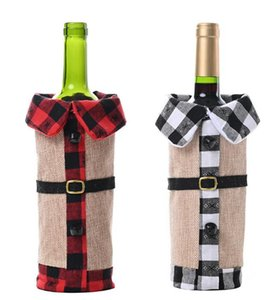 Christmas Red Wine Bottle Cover Plaid linen Wine Bags Christmas Decorations Wine Sets Lapel Red Bottle Covers Party Home Decor GGA3563-1