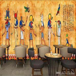 Аркади 3D Урожай Египетский Большой Mural Dance Studio Yoga Room фона Аркади обои Бесшовные Нетканые Hotel Restaurant Wallpaper